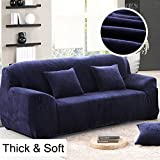 Thick Sofa Covers 1/2/3/4 Seater Pure Color Sofa Protector Velvet Easy Fit Elastic Fabric Stretch Couch Slipcover size 3 Seater:195-230cm (Blue)