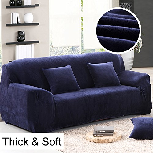 Dicke Sofaüberzüge, 1/2/3/4-Sitz-Überwurf, Sofa Schutzüberzug aus Samt. einfache Passform, Stretch-Material, Couch-/Bettüberwurf, blau, 3 Seater:195-230cm (Blaue Couch)