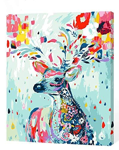 KXCFCYS DIY ölgemälde Malen nach Zahlen Neuerscheinungen Neuheiten - DIY Gemälde durch Zahlen, Malen nach Zahlen Kits digitales Ölgemälde-Deer (Mit Rahmen) -