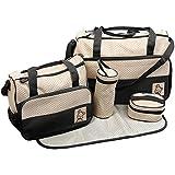 TechnoTec Multi-Function Baby Diaper Nappy Bag/Mummy Changing Set Handbag (Pack of 5, Black)