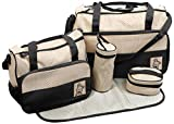 TechnoTec Multi-Function Baby Diaper Nappy Bag/Mummy Changing Set Handbag (Pack of 5, Black)