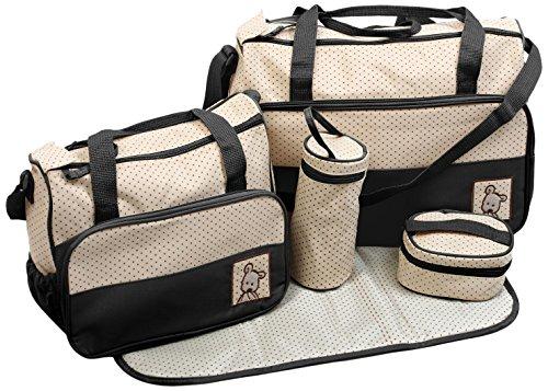 TechnoTec Multi-Function Baby Diaper Nappy Bag/Mummy Changing Set Handbag (Pack of 5, Black) 51RorX2rzSL