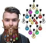 SelfTek Bart-Ornamente, 12 Bunte Kugeln und 4 vibrierende Glocken, Weihnachts-Haar-Weihnachtskugeln für den Weihnachtsmann Bart-Clip