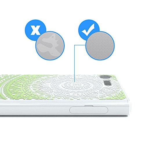 "Sony Xperia X Compact Hülle - EAZY CASE Slimcover ""Clear"" Handyhülle - Schutzhülle als Smartphone Case in Transparent Henna Weiß / Grün"