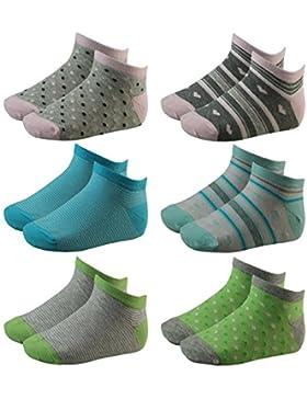 6er Pack Kinder Mädchen Sneaker Socken mit Punkten, Ringeln und Herzen mehrfarbig