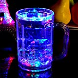 Hunpta LED Induktives Regenbogen Farben blinkendes helles Glühen Becher Glas Party Bier Schalen Geschenk (E)