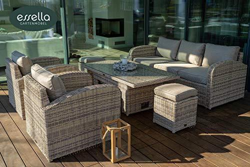 essella Polyrattan Sitzgruppe Gartenmöbel Lounge San Diego 4-Personen Rundgeflecht Outdoor Möbel