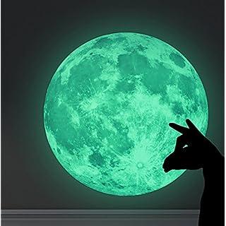 WandSticker4U- Wandtattoo Selbstklebende Leucht Mond | 30x30 cm | fluoreszierend Aufkleber Glow-Sticker-Leucht | Deko für Kinderzimmer Schlafzimmer