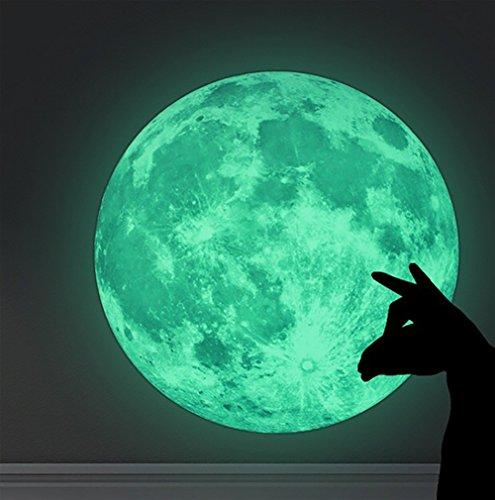 WandSticker4U Wandtattoo selbstklebende Leucht Mond   30x30 cm   fluoreszierend Aufkleber Glow-Sticker-Leucht   Deko für Kinderzimmer Schlafzimmer (Acryl-latex-farbe)