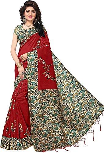 MRS WOMEN Women\'s Art Silk Saree With Blouse Piece (Ula003_Red)