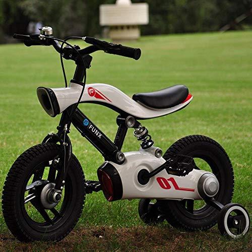 XiangYu Kinderfahrrad, Magnesiumlegierung Material, Doppelscheiben Bremssystem, Einstellbarer Lenker und Sattel + Rutschfestes Hilfsrad White-12inch