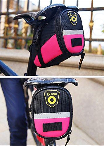bravetzx Fahrradsatteltasche mit schnell zu öffnenden Schnallen, Wasserbeständige Fahrradtasche, Satteltaschen , 17 * 9.5 * 11.5CM , Wasserdicht Mountain Road MTB Tasche, Radfahren Strap-on Satteltasc Pink