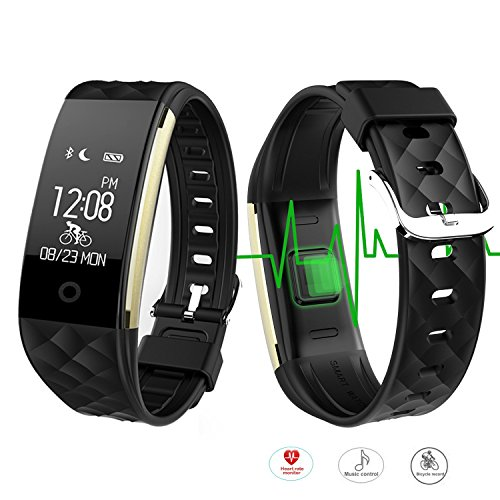 ROGUCI Wasserdichtes 0.96 Zoll Touchdisplay Bluetooth HR Messung Armband Fitness Aktivität Armbänder Uhr Tracker,Smartwatches Armbandes mit Herz/Puls-Monitor und Fahrrad-Reiten Modus Musikplayer-funktion,kompatibel Systemvorraussetzungen IOS 7.0 / Android 4.3 und darauffolgende Versionen