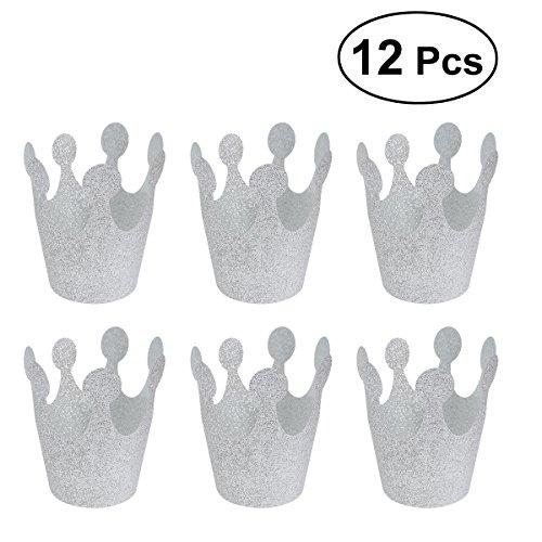 Geburtstag Party Glitter Crown Hüte Party Crowns Dekoration Lieferungen für Kinder Erwachsene (Silber) ()