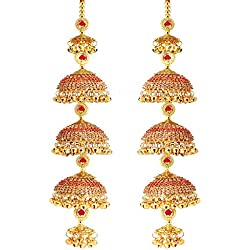 Mansiyaorange Fancy Punjabi Copper Red Golden kalere/Kaleera/Kalera/Bridal Hand Hanging/kaleera for Brides/Girls/Women(AAA AD Stone Range)(12 Inch Long 2.2 Inch Wide)