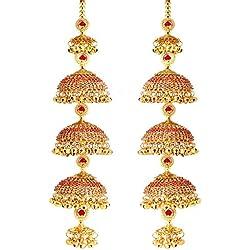 Mansiyaorange Fancy Punjabi Copper Red Golden kalere/Kaleera/Kalera/Bridal Hand Hanging/kaleera for Brides/Girls/Women(AAA AD Stone Range)(12 Inch Long 2.2 Inch Wide)
