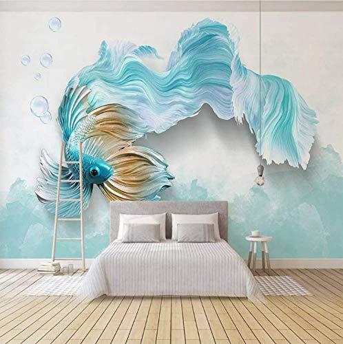 QHQ Fototapete Moderne 3D Abstrakte Blaue Vogel Fisch Wandbild Wohnzimmer Tv Sofa Hintergrund Tapeten Für Wände 3D Wohnkultur -