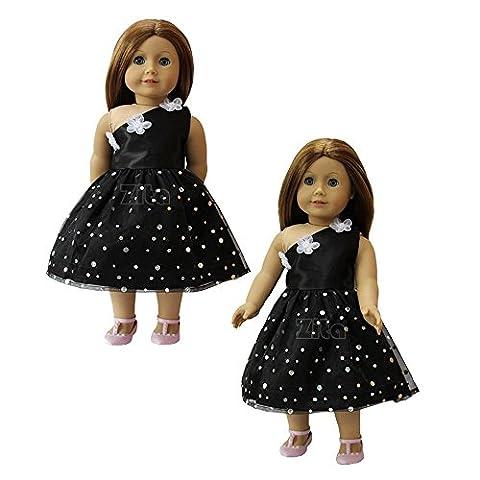 ZITA ELEMENT Edle Kleid Wellenpunkt Kleines Schwarzes Kostüm, schwarzes mit Sequins outfit passt für 18 Zoll American Girl 45-46 cm Götz Puppen Kleider, My Life Puppe, unsere Generation