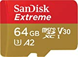 #5: SanDisk 64GB Extreme A2 / UHS-I / V30 / U3 / Class 10 microSDXC Memory Card with SD Adapter for Smartphones, Action Cameras & Drones(Newest Version)