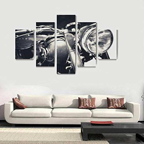 YDBDB 5 Pannelli Stampati su Tela Pittura Vintage Moto retrò Sport Motori Poster Stampe Wall Art Home Deco
