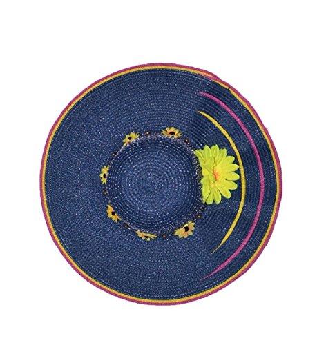 Pisco Veste coupe-vent Large bord chapeau de soleil tressé avec cordon maximum Sun Protection Deep Blue Deep Blue
