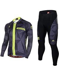Asvert Ropa de Bicicleta Hombre MTB Traje de Ciclismo Mangas Largas  Maillot+Pantalones Equipación de f4ac39c47eea7
