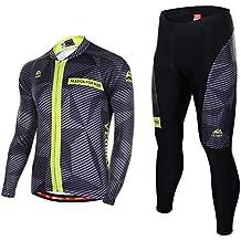 Asvert Malliot de Ciclismo Hombre con 4D Cojín Especial Ropa de Bicicleta Transpirable Cómodo Ciclo Otoño y Primavera al Aire Libre