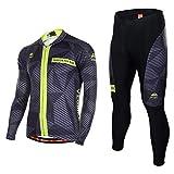Asvert Fahrradbekleidung, Männer Langarm-Radfahren Jersey Set Mountain Biking Anzug Kleidung Kompression Hosen,Grau und schwarz,M