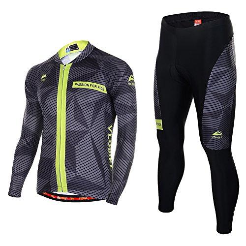 Asvert Männer Radfahren Jersey mit 4D Spezielle Kissen Sitzpolster Fahrrad tragen Breathable Komfortable Herbst und Spring Cycle Outdoor (Herren Gemalt Streifen)