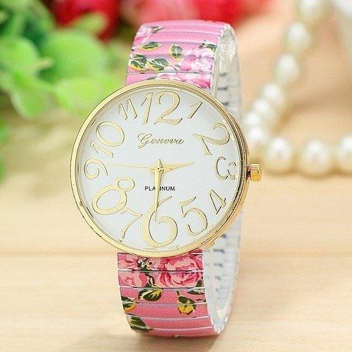 Kingken Fashion - Reloj de pulsera con correa de aleación elástica, diseño floral