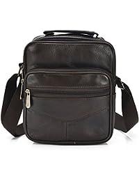 Mynos Genuine Leather Men Crossbody Bag Vintage Brown Messenger Shoulder Bag Man Purse Briefcase Handbag