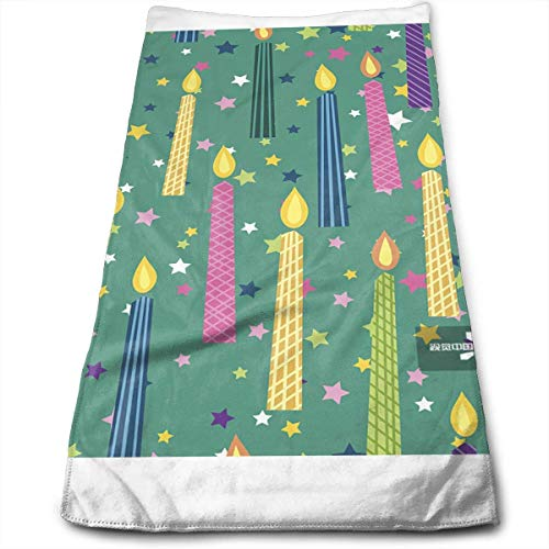 ERCGY Cartoon Green Birthday Candles Microfiber Travel & Sports Towel, Ultra Compact, Lightweight, Absorbent Fast Drying Towels, Ideal Gym, Beach, Fitness, Exercise, Yoga Ultra Compact Candle
