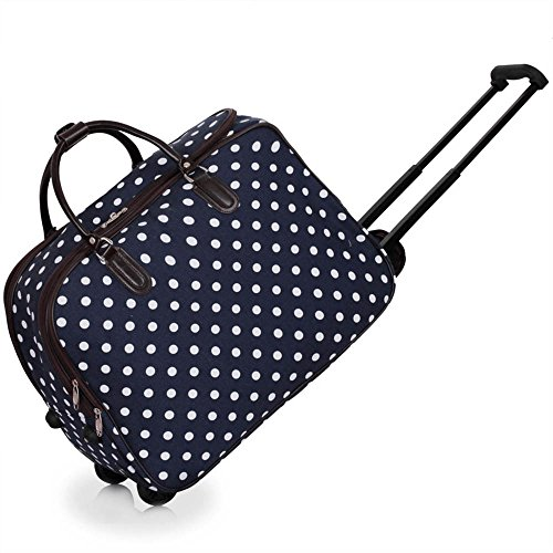 ladies-travel-holdall-bags-hand-luggage-womens-polkadots-print-weekend-wheeled-trolley-handbag