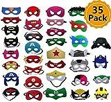 YNOUU 35 Pezzi Maschere di Supereroi, Supereroe per Feste, Supereroi Maschere Cosplay, favori per Feste Maschere per Bambini o Ragazzi di età Compresa tra 3 e più (35 Pack)