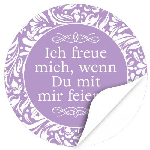 48 Design Etiketten, rund / Ich freue mich, wenn Du mit mir feierst / lila / Hochzeit / Taufe / Geburtstag / Konfirmation / Aufkleber / Sticker / Einladung