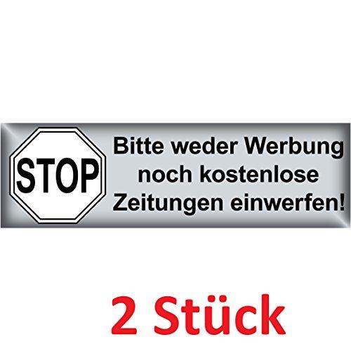 Preisvergleich Produktbild Aufkleber 6,5 x 2cm Stop Bitte weder Werbung noch kostenlose Zeitungen einwerfen Schrift schwarz Briefkasten (2)