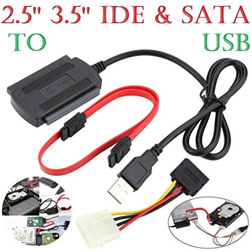 """Wokee 2.5 / 3.5 SATA / IDE Laufwerk zu USB 2.0 Adapter Konverter Kabel für 2,5 """"& 3,5"""" Festplattenlaufwerk CD DVD ROM Optisches Laufwerk mit externem Netzteil Festplattenkonverter Mit Netzteilkabel für Windows XP / Vista / 7/8/10"""