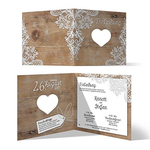 Lasergeschnittene Hochzeit Einladungskarten (40 Stück) - Rustikal mit weißer Spitze - Hochzeitskarten