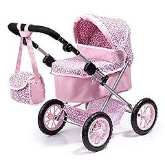 Idea Regalo - Bayer Design- Passeggino Trendy, Carrozzina per Bambole con Borsa, Colore Rosa con Motivo Leopardo, 13002AA