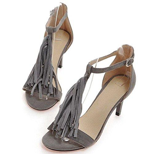 COOLCEPT Damen Fashion Bohemia T Strap Kleid-Party Sandals Hochzeit Shoes with Fringe Grau