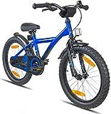 Prometheus vélo enfant 18 pouces pour garçons et filles en bleu et noir à partir de 6 ans avec freins V-Brake en aluminium et rétropédalage - BMX 18 pouces modèle 2019