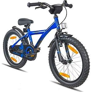 """Prometheus Bicicletta per bambini e bambine dai 6 anni nei colori blu e nero da 18 pollici con freno a V in alluminio e contropedale - BMX da 18"""" modello 2019"""