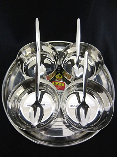 9 Piece Relish BBQ Pickle Sauce Chutney,Dip Server Dishes in Stainless Steel Thali & Small Katoris(Bowls) by Master Cook Relish Dish Bowl