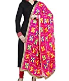 #7: Weavers Villa® Punjabi Hand Embroidery Phulkari Faux Chiffon Pink Dupatta, Stoles