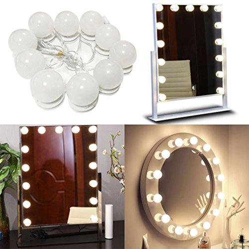 OFFLOAT Hollywood Style LED Schminkspiegel Lichter Kit für Make-up, Leuchte Streifen, Dimmbare Lampen, Make-up-Eitelkeits-Licht-Set, Umkleidekabine Makeup Mirror Light, 10 Lampen