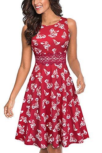HOMEYEE Vestido de cóctel sin Mangas Bordado de la Vendimia de Las Mujeres UKA079 (EU 36 = Size S, Rojo Oscuro + Floral)