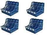 MOHAK Multifunction Plastic Storage Hanger 4 Section Divider File Paper Magazine Rack Holder Office Home Desktop Book Box Bookshelf (Pack of 4) (Blue)