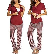 STRIR-Ropa Premamá Lactancia Mujer Pijama Conjunto Maternidad Primavera Pijama Premamá Embarazo El botón Tops
