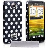 Yousave Accessories HT-DA01-Z965 Pack de Housse + Protection d'écran + Tissu de polissage pour HTC One X Noir/Blanc