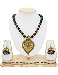 The Luxor Antique Gold Plated Black Pearl Necklace Set For Women NK-2217